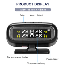 Solar Wireless TPMS Car Tire Pressure Monitoring System Smart TPMS Real-time Display Tires Pressure & Temperature With 4 Sensors careud t801 nf auto car tpms tire pressure solar panel monitoring system with 4 internal sensors