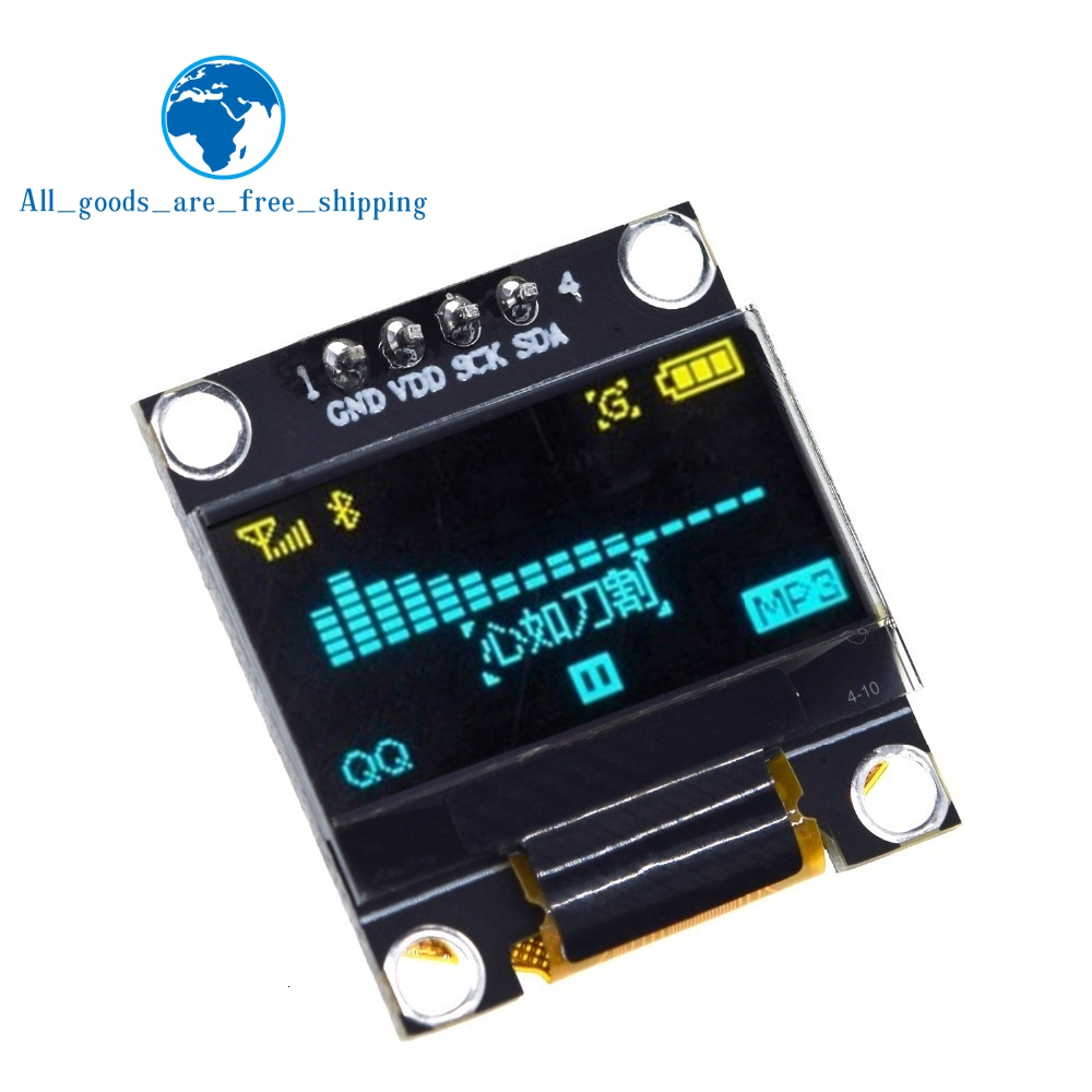 0.96 Inch Oled IIC Serial White OLED Display Module 128X64 I2C SSD1306 12864 LCD Screen Board GND VDD SCK SDA For Arduino Black