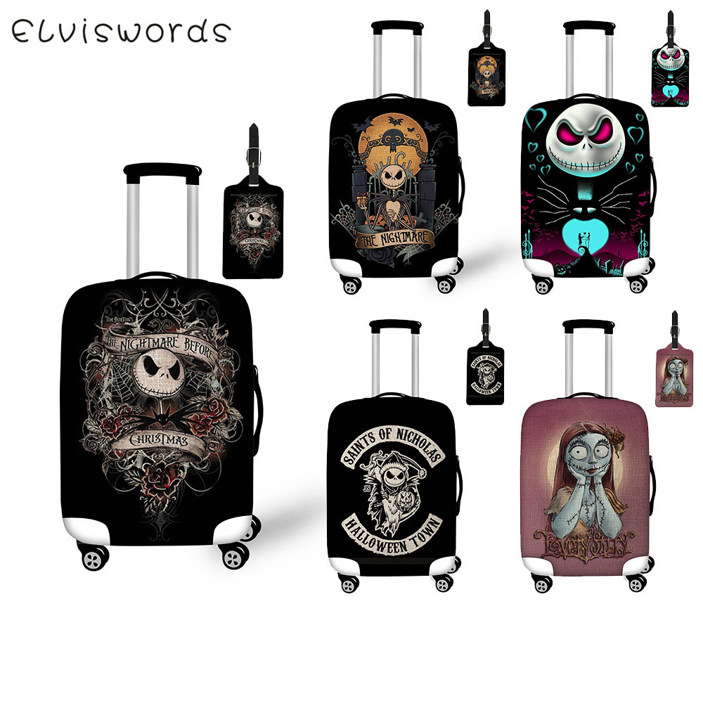 ELVISWORDS Nightmare Before Christmas Print Travel Accessories Jack Luggage Set Suitcase Cover Tag Elastic Trolley Protection