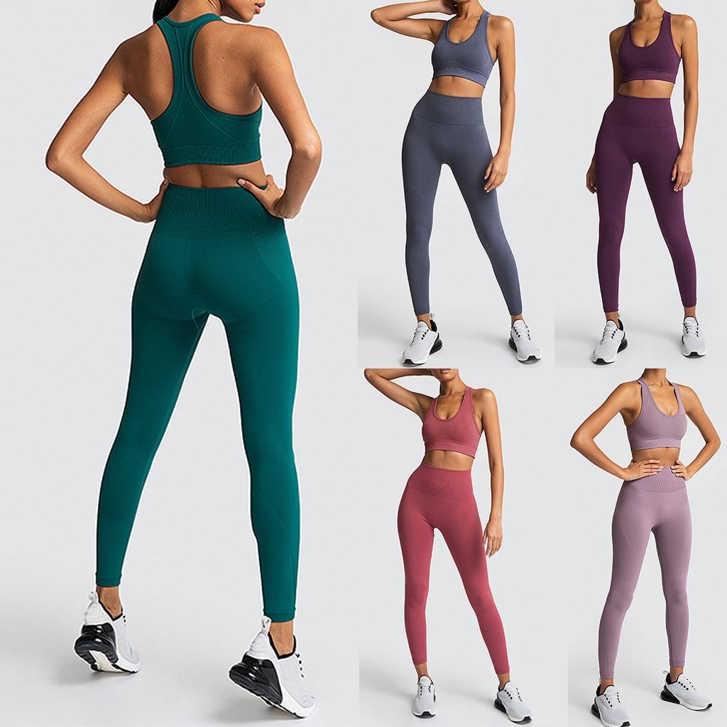 Women's Seamless Yoga Suit Sportswear Fitness Sport For Women Gym Running Set 2 Piece Costume For Yoga Sports Bras+leggings Sets