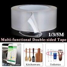 1/3/5 м двусторонний скотч нано прозрачный без следа акриловая лента-липучка «Magic Tape» повторное использование Водонепроницаемый клейкая лента моется, товары для дома