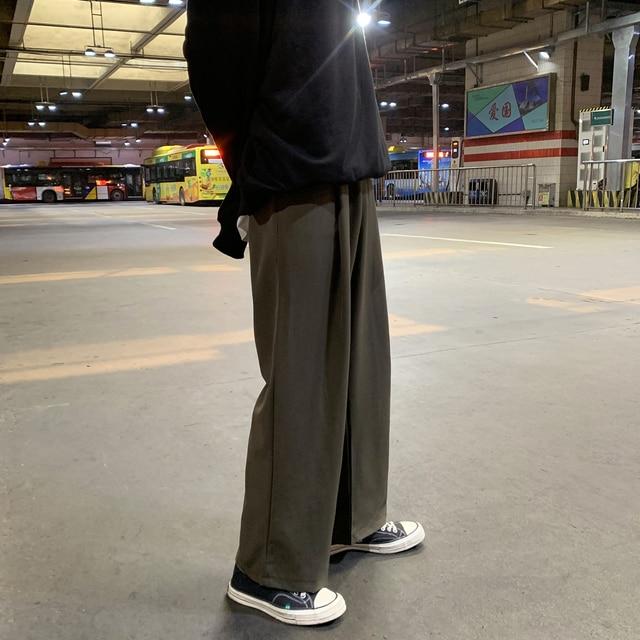Men's Loose Leisure Cotton Casual Pants Tide Wide Leg Pants Black Trousers Active Elastic Hip Hop Suit Pants Grey Sweatpants 3