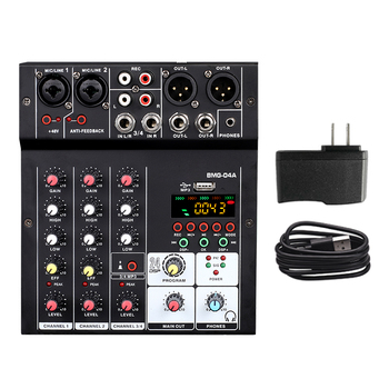 BMG-04A Sound Audio-Mixer Mixing Console 4 channel Audio Interface 24 kinds DSP Effects / 48V Phantom Power USB Bluetooth MP3 - US Plug