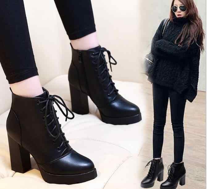 Mùa đông ấm Mới Xuất Hiện Thời Trang Giày Bốt Nữ Chun Co Dãn Bằng Sáng Chế Ủng Da Cá đầu Tròn cao Gót Giày Gợi Cảm Giày