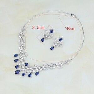 Image 3 - Su damlası mavi kübik zirkonya beyaz CZ kadınlar gümüş renk takı düğün küpe kolye kolye setleri