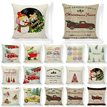 Truck Tree Case Red Christmas Cushion Linen Happy Cover Pillow Throw Farm Camper Comfortable bolster cushion image