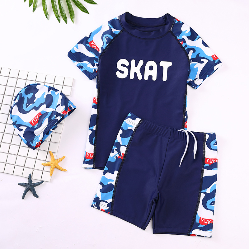 KID'S Swimwear BOY'S Split Type Swimming Trunks Set Little Boy Big Boy Tour Bathing Suit Teenager Sun-resistant Swimming Equipme