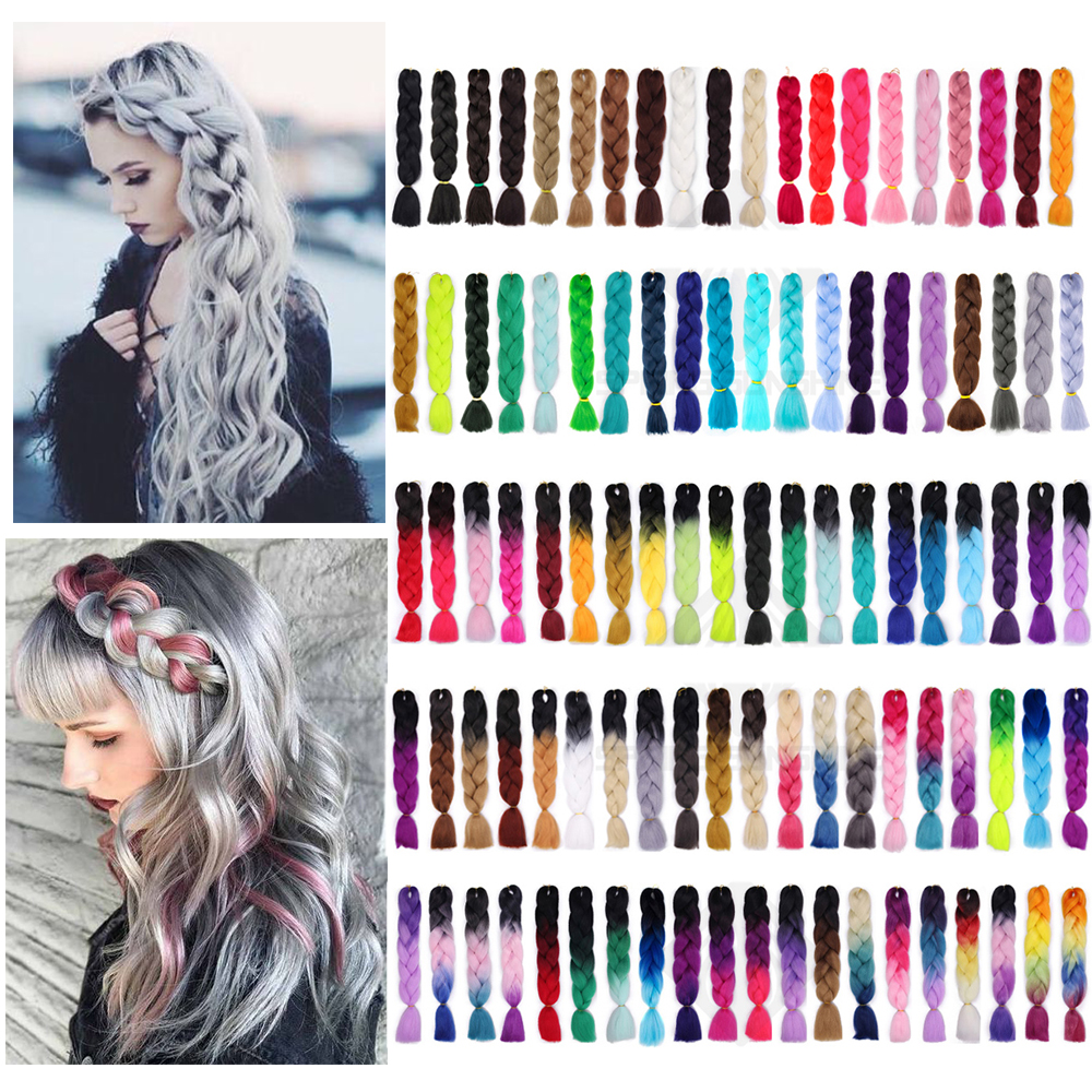 24 Inch Jumbo Pink Braids Long Ombre Jumbo Synthetic Braiding Hair Crochet For Women Blonde Blue Grey Hair Extensions African