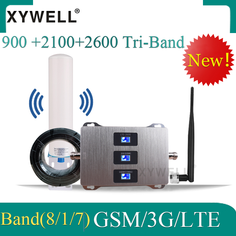 900/2100/2600 Mhz Tri-Band Mobile Cellular Amplifier Gsm Repeater 2G 3G 4G Mobile Network Booster GSM UMTS LTE 900 2100 2600