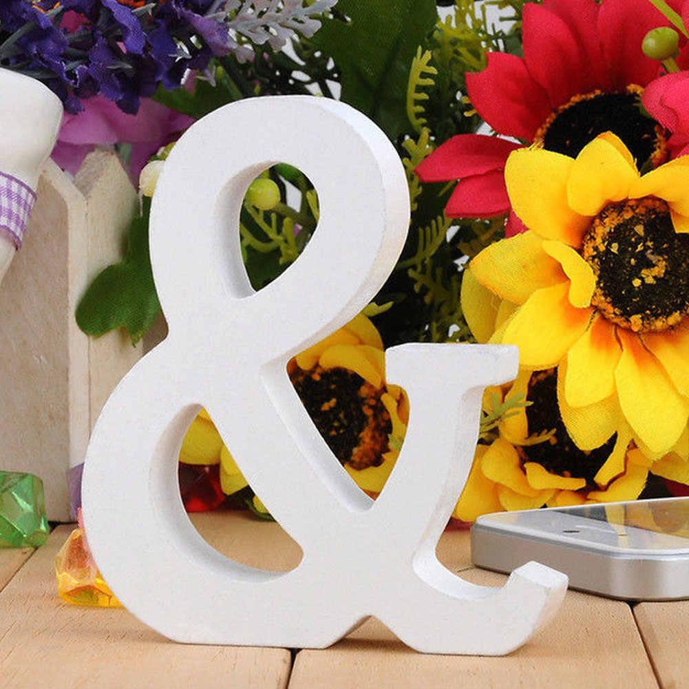 Oferta, 1 unidad de adorno de letras en inglés de madera, decoraciones blancas para fiesta de boda, decoración con forma de alfabeto DIY para Baby Shower o boda