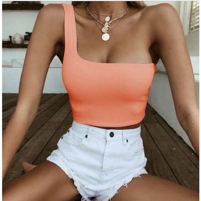 Streetwear One Shoulder Women/'s Tank Tops Summer Fashion Clubwear Solid Color YD