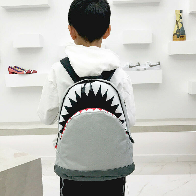 Cartoon Shark Kids Backpack Cool Shark School Bag Travelling Bag Student Boys Girls Rucksack Leisure Zipper