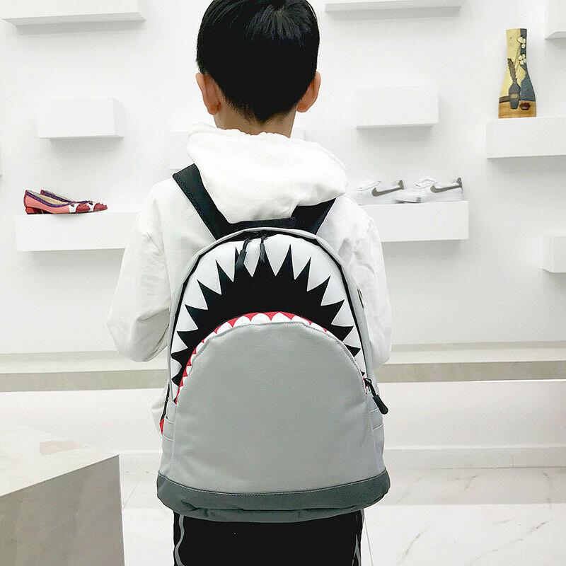 Cartoon Shark Kids Backpack Cool Shark School Bag Travelling Bag Student Boys Girls Rucksack Leisure Zipper