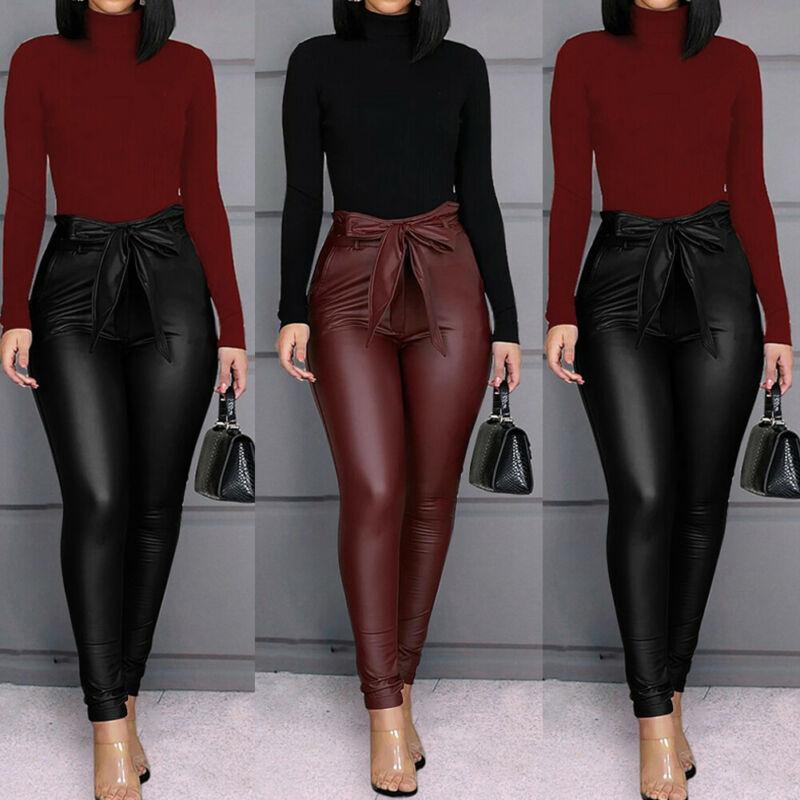Hirigin Belt High Waist Pencil Pant Women Faux Leather PU Sashes Long Trousers Casual Sexy Exclusive Design Fashion Pants