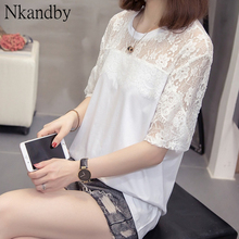 Plus Size Lace Patchwork Top Tees Woman 2020 Summer Trendy Loose Short Sleeve T-shirts