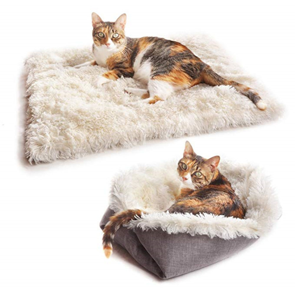 Warm Fleece Dog Bed Removable Dual-use Mat Soft Pet Dog Sleeper Sofa Pet Lounger Plush Cushion Winter Kennel Puppy Mat Ped Bed 5