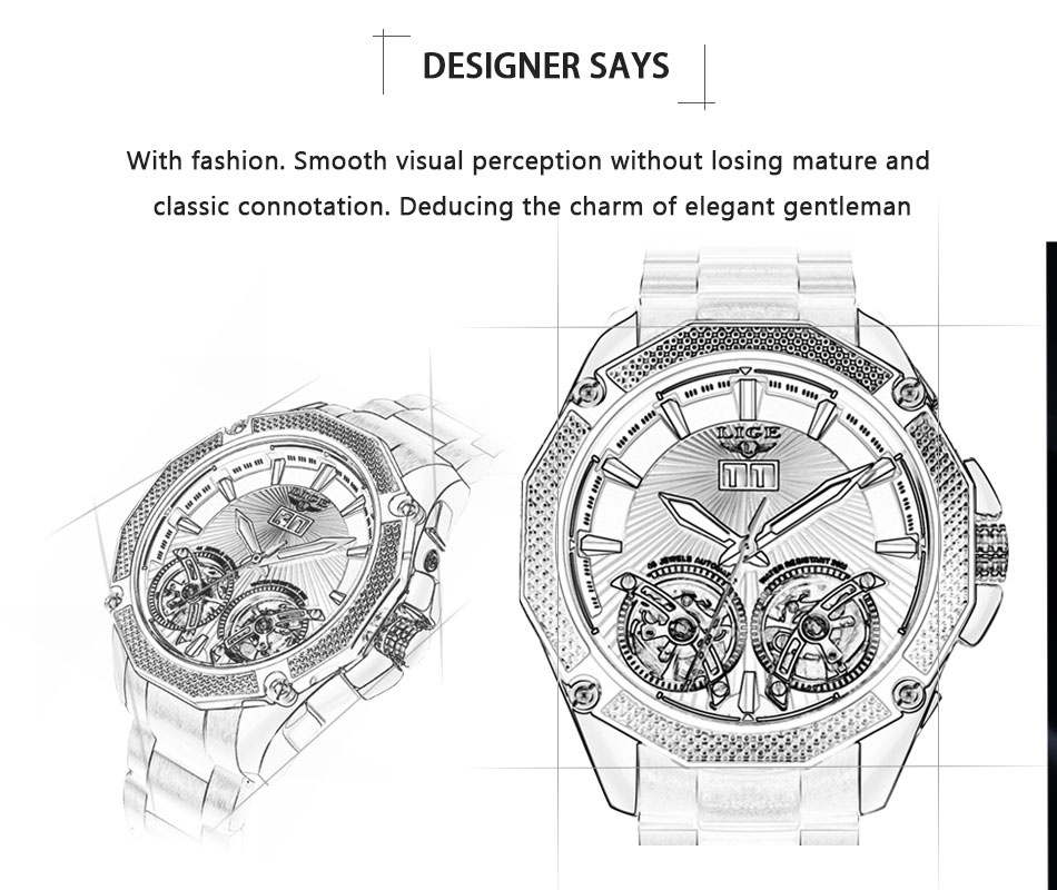 lige marca superior luxo automático relógios mecânicos