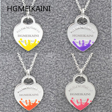 Tiff HGMEIKAINI 925 sterling silver necklace 1:1 enamel spray love ms pendant with European and American fashion jewelry gifts
