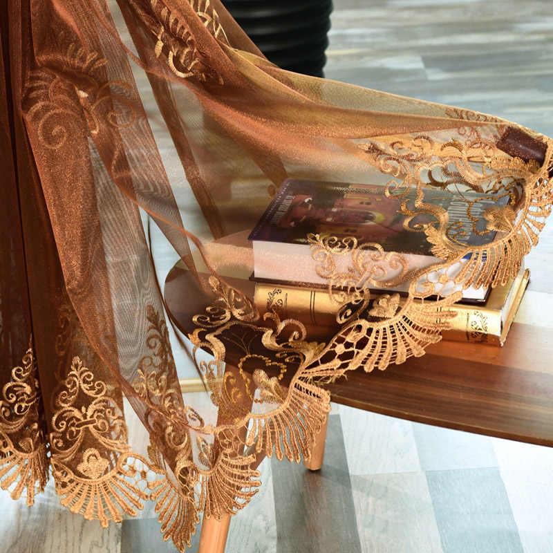 Европейский кофейный кружевной оконный экран тюлевые ткани высокого качества кофе Вода-растворимая вышивка прозрачные шторы для спальни M139-50