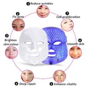 Image 2 - 7 צבעים Led פנים מסכת יופי טיפוח עור התחדשות קמטים אקנה הסרת פנים יופי טיפול הלבנת להדק מכשיר