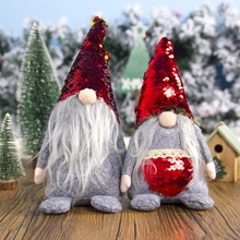 Swedish Christmas Santa Nordic Elf Plush Gnome Doll Figurine Ornament Sequins Hat Pocket Home Holiday Decorations