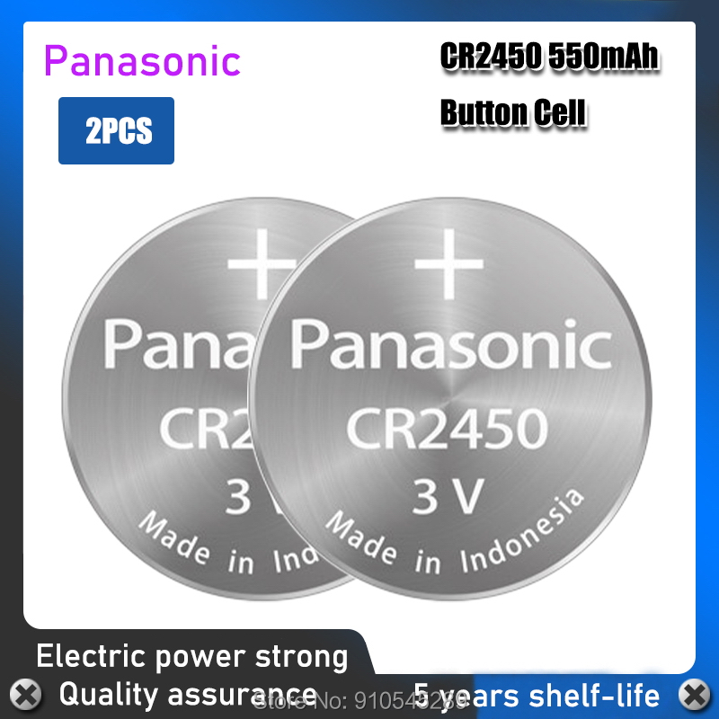 2 pces panasonic 3v cr2450 baterias de lítio substituição dl2450 br2450 lm2450 5029lc kcr2450 pilhas de moedas botão bateria