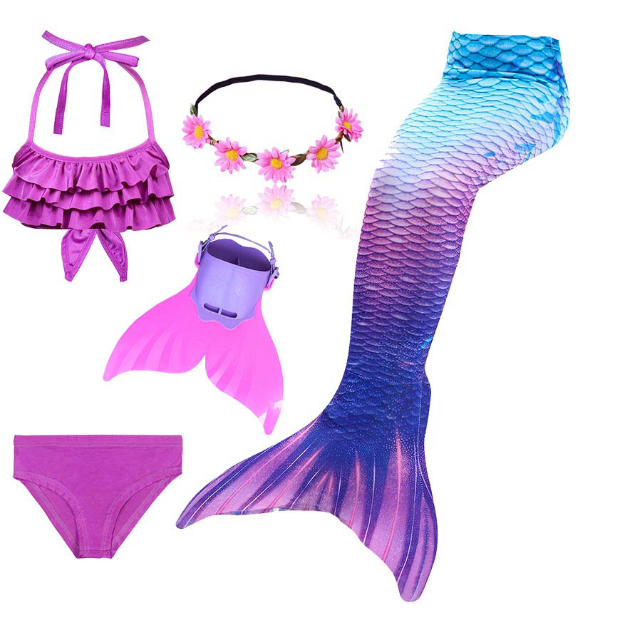 2019 Hot Girls Swimmable Mermaid Tails For Swimming Kids Bating Suit Mermaid Costume Swimsuit Can Add Fin Goggle Or Garland Wigs