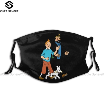 цена на Tintin Mouth Face Mask Tintin And Captain Haddock Facial Mask Cool Kawai with 2 Filters for Adult