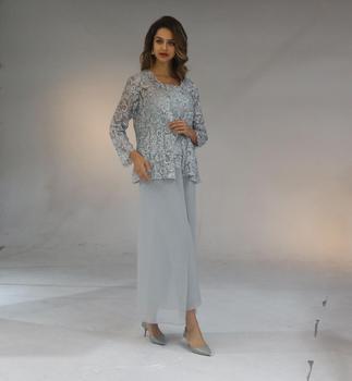 Women Chiffon Appliques Floor Length Pantsuit Straps With Lace Elegant Mother Of The Bride Dress Plus Size Vestido Mae Da Noiva