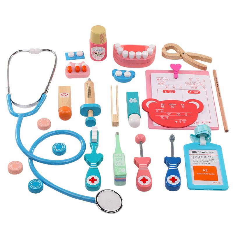20 Pcs/Set Kids Pretend Doctor Game Toy Wooden Cosplay Simulation Dentist Accessories Tools Children Play Doctors Toys image