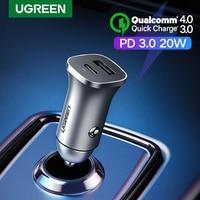 UGREEN-cargador de coche PD, 20W, USB tipo C, carga rápida 4,0, 3,0 QC, para iPhone 12, 11, Samsung