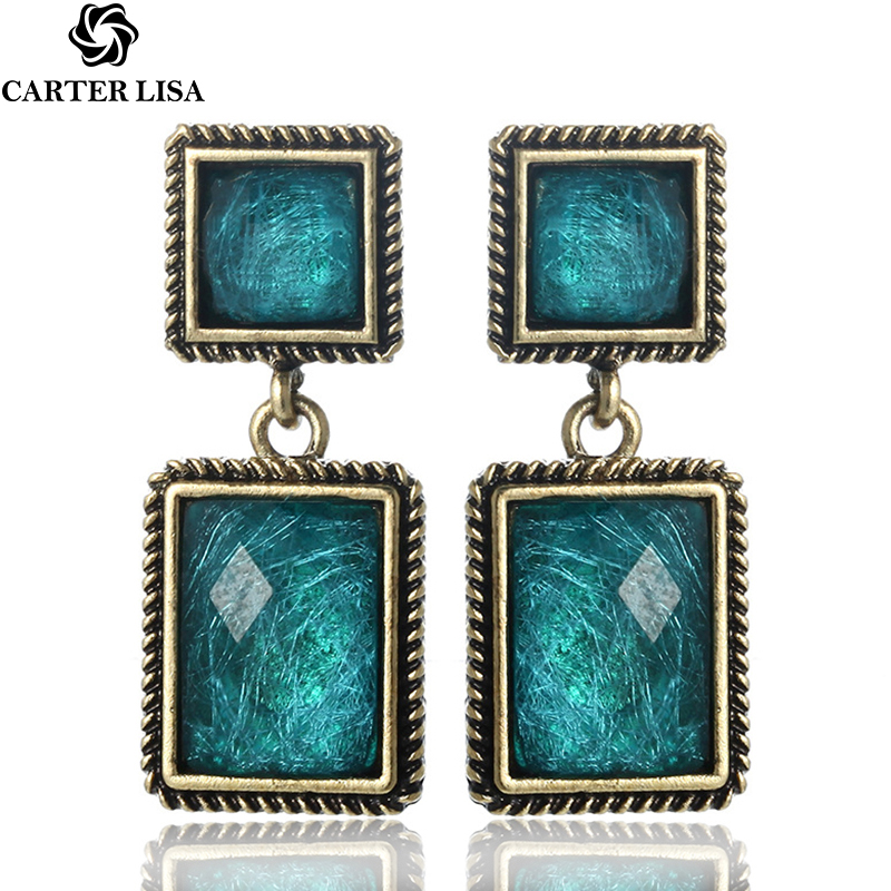 CARTER LISA 2019 Vintage Charming Earrings Long Bijoux Metal Earring Square Dangle Earrings For Women   Drop Earrings HLEZ217000
