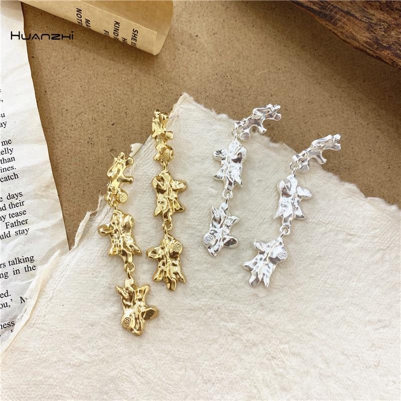HUANZHI 2020 Trendy Punk Ye-ji Seo Gold Silver Color Metal Geometric Irregular Long Tassel Drop Earrings for Women Girls Jewelry