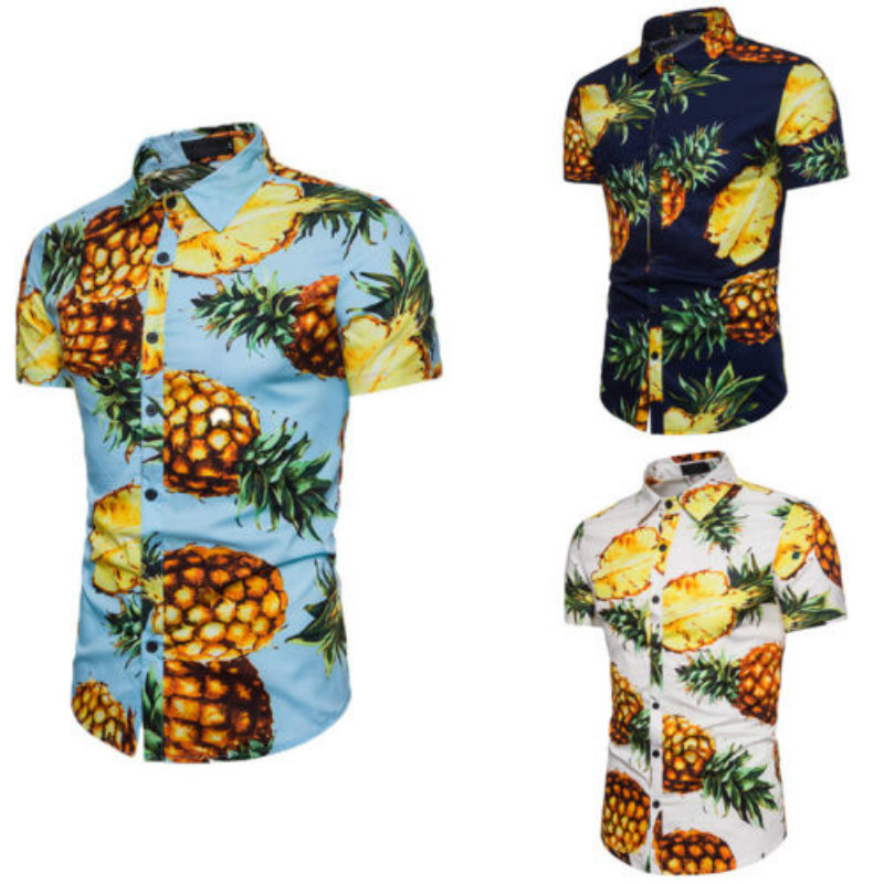 Mens Summer Pineapple Print Shirts Casual Short Sleeve Hawaiian Beach Tops Turn Down Collar Male Tropical Camisa Masculina Shirt