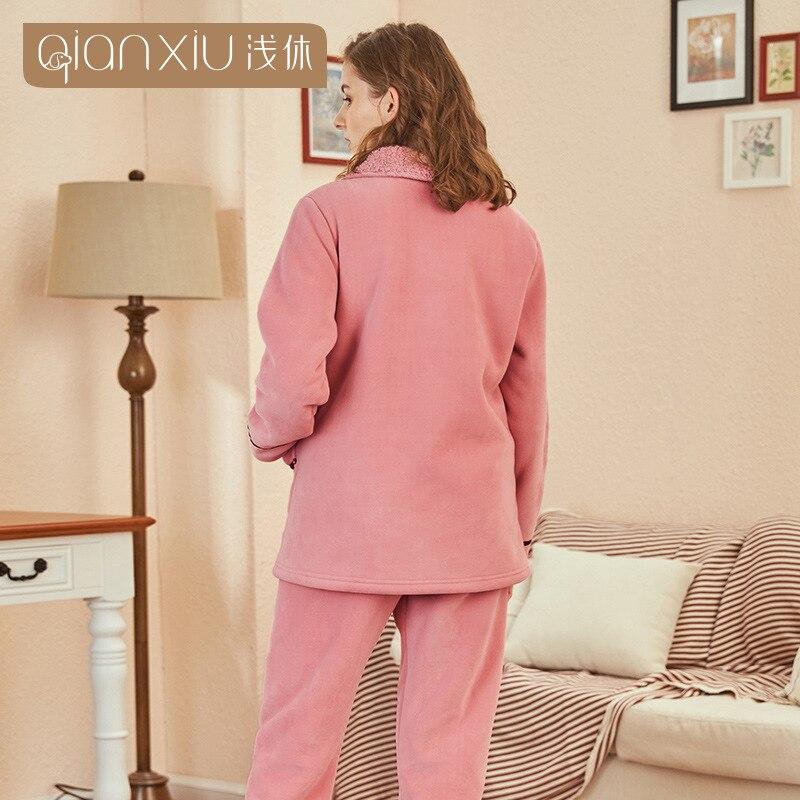 Милый Вишневый узор, зимняя Фланелевая Пижама для женщин, плюшевый тканевый кардиган, одежда для сна, Женский Пижамный костюм, домашняя одеж... - 5