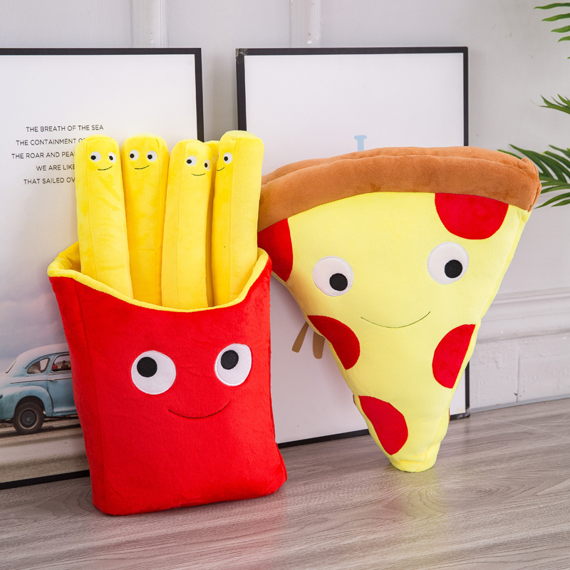 30/50cm Pillow of Fries Pizza Food Plush Toy Stuffed Soft   Christmas Gift for Kids Kawaii  Decoration Doll Valentine Present