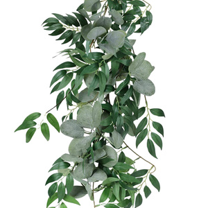 Image 2 - 2M Mixed Artificial Silver Dollar Eucalyptus Leaves and Willow Leaves Vine Wreath Wedding Arch Background Green Garland