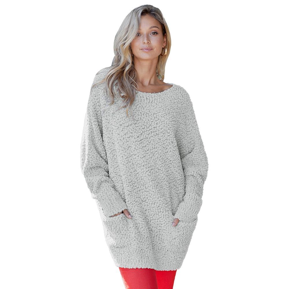 Femmes chandails 2019 femmes hiver chandail dames col rond pull tricoté chandail long chandail hiver hauts pour les femmes