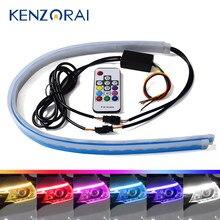 2X Slim LED Daytime Running Light Car Strip Turn Signal Light RGB Remote Control DRL Universal Headlight Flexible Waterproof 12V