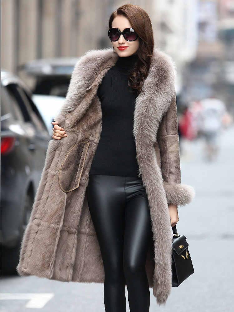 Mantel Pakaian 2020 Alami Kelinci Fox Kerah Jaket Nyata Bulu Jaket Kulit Wanita TOTGG8112 YY2258