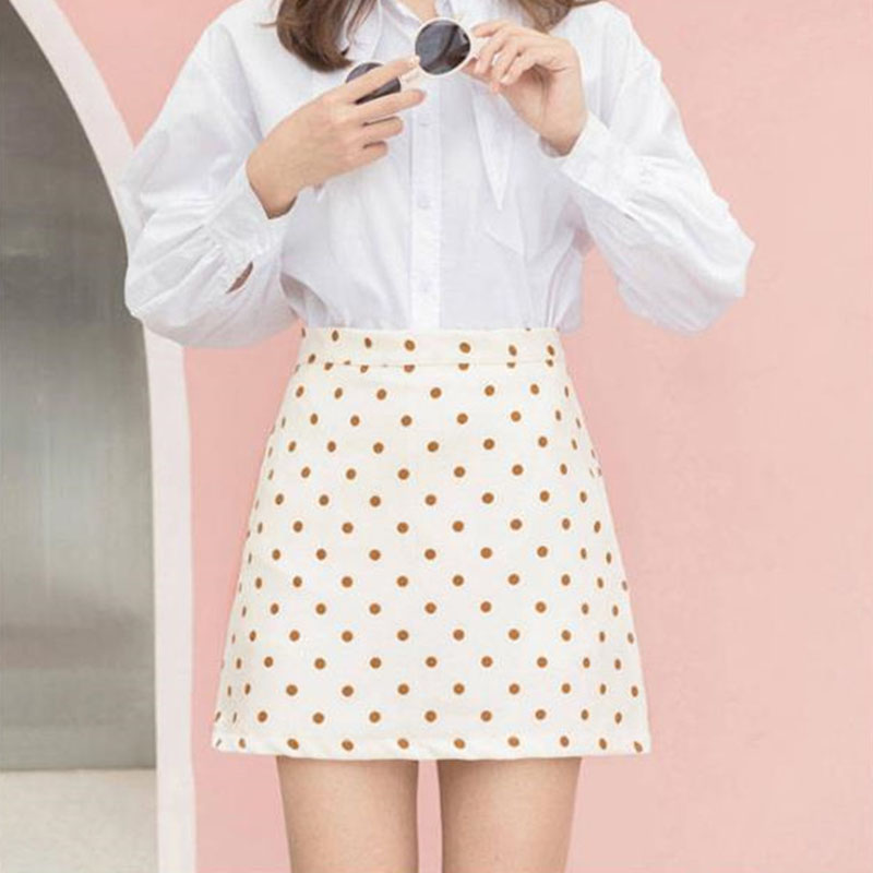 Women Short Dot Slim Fit High Waist Preppy Style Kawaii Empire Skirts Girls Fashion Mini A-line Skirt