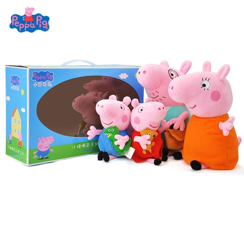 Original Peppa Pig A Family Of 4 Set Cartoon Stuffed Plush Toys Dolls George Friend Family Party Children Birthday Xmas Gift