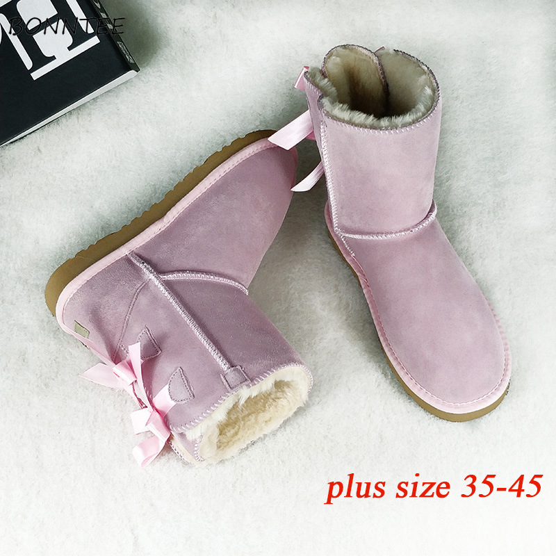 Boots Women Fur Warm Fashion Thick Plush Australia Ugly Snow Shoes Plus Size 45 Winter Students Casual Womens Lovely Riband Red