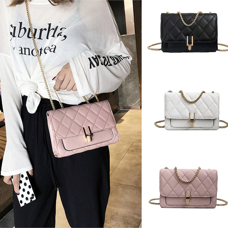 Luxury Handbag Designer Brand Women Bag Quality PU Leather Chain Shoulder Messenger Bags Mini Flip Lock Small Square Pack Clutch