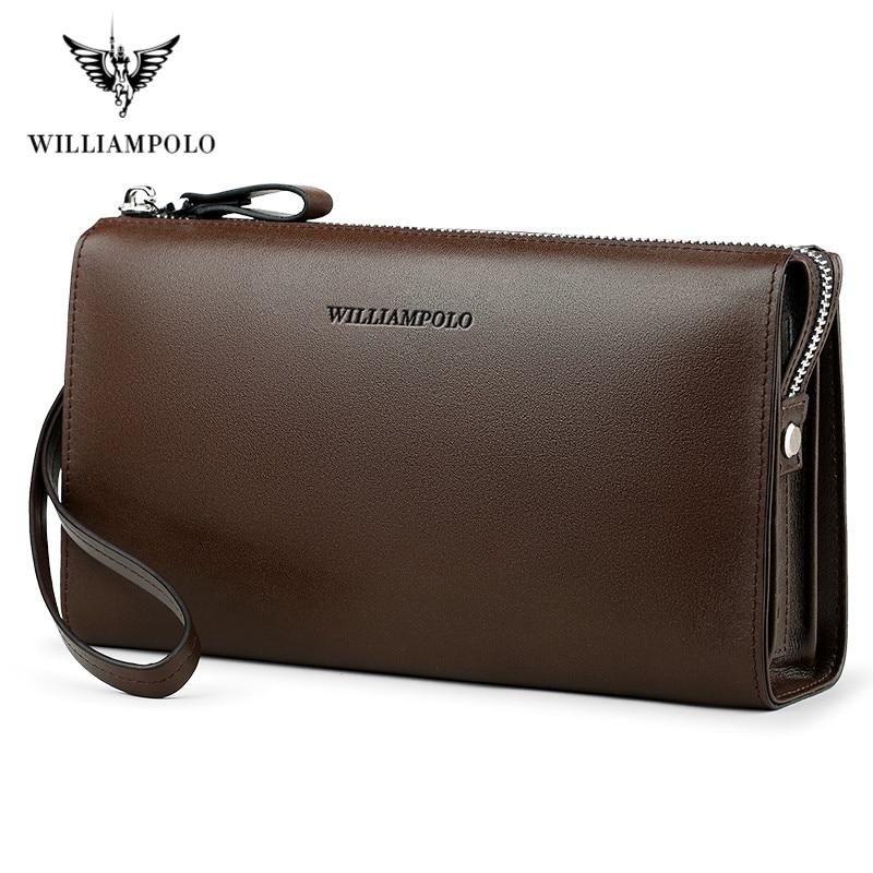 Wallet For Men Minimalist Business Genuine Leather Handbag WILLIAMPOLO Fashion Zipper Multiple Internal Compartments Clutch Bag