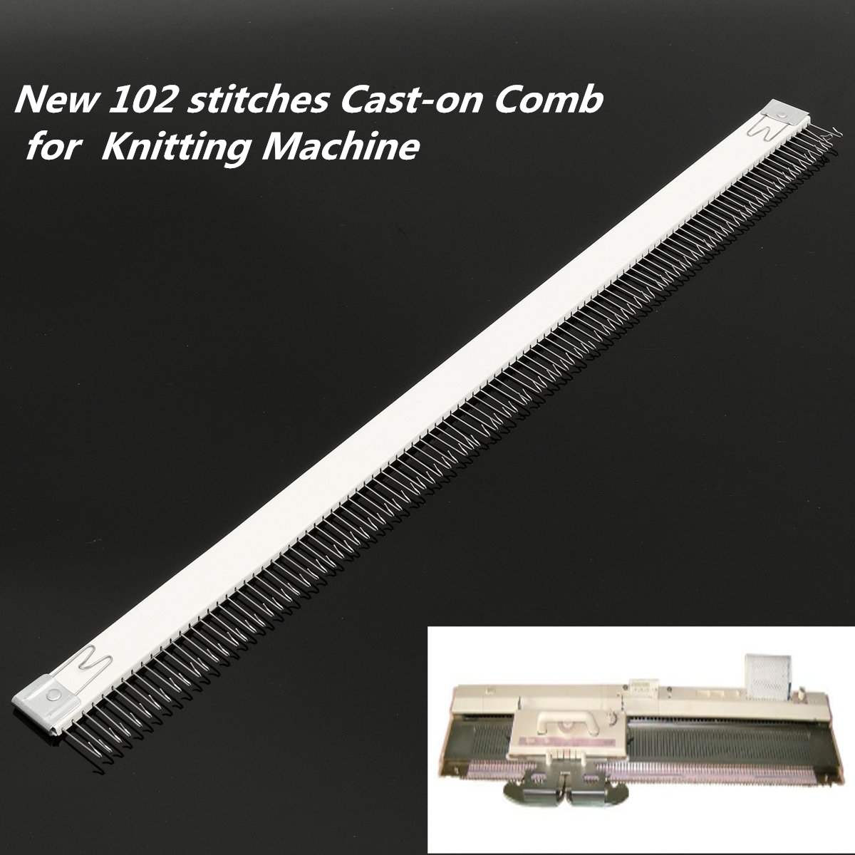 18''/46cm Stainless Steel Silver Cast on Comb Knitting Machine for all 4.5mm/9mm Knitting Machine
