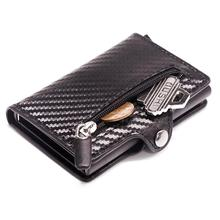Card Wallet Credit-Card-Holder Coin-Pocket Carbon-Fiber Casekey Purse Slim Mini Short
