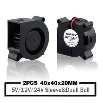 2 Pieces Dual Ball Bearing 40x40x20mm Blower Fan 5V/12V/24V 40mm 4020 Turbo Blower Cooling Fan 3D Printer Cooler Fan 2pcs gdstime dc 24v 2 pin ball bearing 40mm mini small pc cpu cooling fan cooler 40x40x20mm 4020