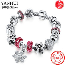90% OFF! Antique 925 Silver Charm Bracelet & Bangle With Snowflake Pendant Crystal Beads for Women Wedding Vintage Jewelry HB211(China)