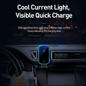 Image 4 - Baseus Draadloze Autolader Voor Iphone Xs Max Xr X 8Plus Licht Elektrische 2 In 1 Draadloze Oplader 15W Auto Houder Voor Huawei P30Pro
